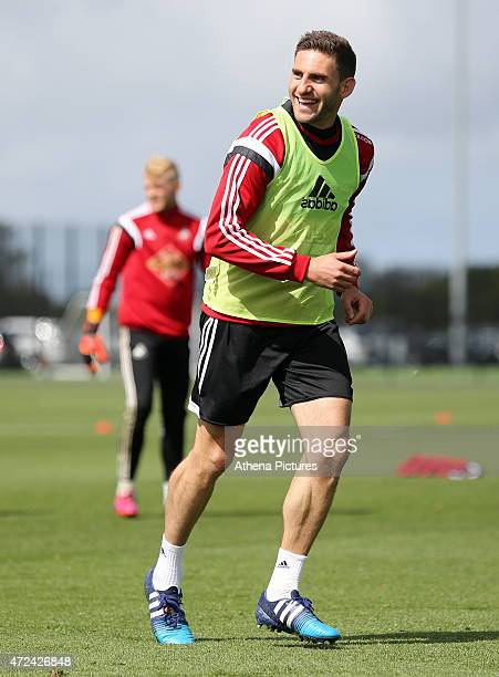 Angel Rangel in action during the Swansea City training session at the Fairwood Training Centre on May 07 2015 in Swansea Wales