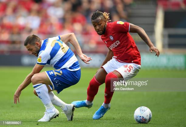 Angel Rangel of Queens Park Rangers competes with Kasey Palmer of Bristol City during the Sky Bet Championship match between Bristol City and Queens...