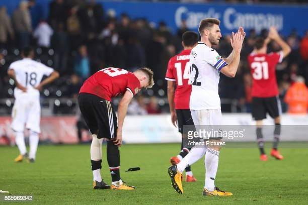 Angel Rangel of Swansea City after the final whistle of the Carabao Cup Fourth Round match between Swansea City and Manchester United at the Liberty...