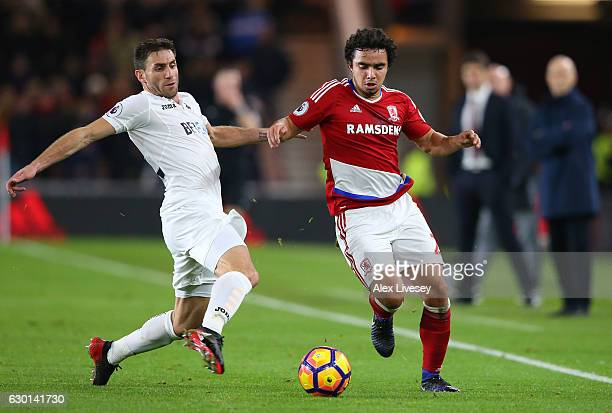 Angel Rangel of Swansea City and Fabio Da Silva of Middlesbrough battle for possession during the Premier League match between Middlesbrough and...