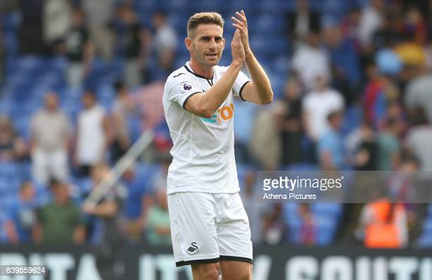 Angel Rangel of Swansea City applauds the traveling fans after the final whistle of the Premier League match between Crystal Palace and Swansea City...