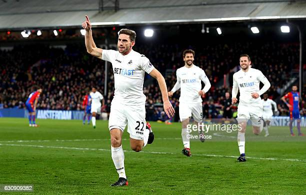 Angel Rangel of Swansea City celebrates scoring his team's second goal during the Premier League match between Crystal Palace and Swansea City at...