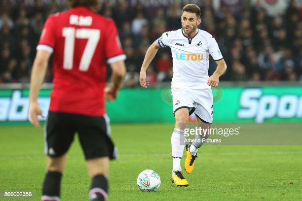 Angel Rangel of Swansea City during the Carabao Cup Fourth Round match between Swansea City and Manchester United at the Liberty Stadium on October...