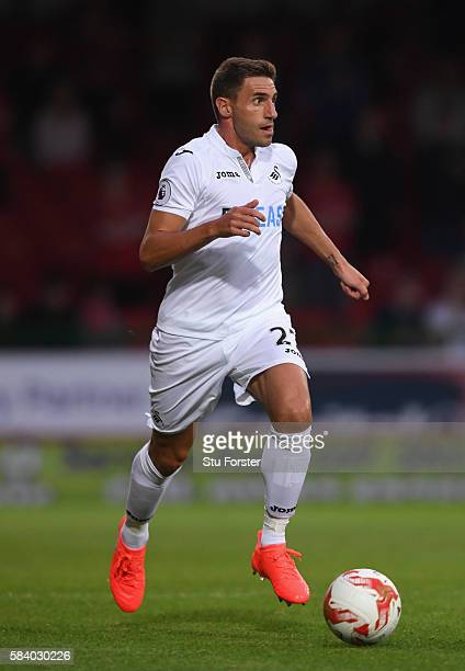 Angel Rangel of Swansea City in action during the Pre Season friendly between Swindon Town and Swansea City at County Ground on July 27 2016 in...
