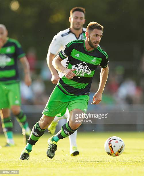 Angel Rangel of Swansea City in action during the Preseason Friendly between Borussia Moenchengladbach and Swansea at Grassau on July 15 2015 in...
