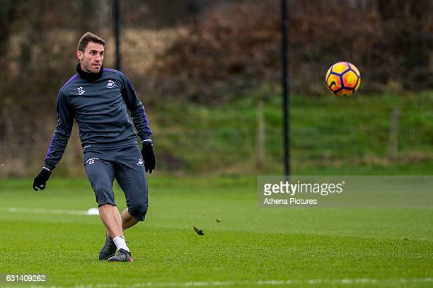 Angel Rangel of Swansea City in action during the Swansea City training session at The Fairwood training Ground on January 10 2017 in Swansea Wales