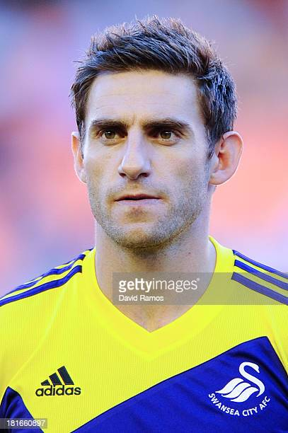 Angel Rangel of Swansea City looks on prior to the UEFA Europa League Group A match between Valencia CF and Swansea City at Estadi de Mestalla on...