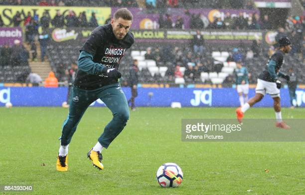 Angel Rangel of Swansea City prior to kick off of the Premier League match between Swansea City and Leicester City at The Liberty Stadium on October...