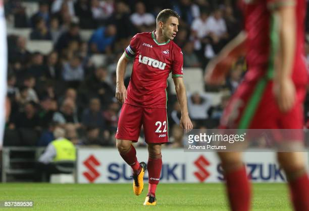 Angel Rangel of Swansea Cityduring the Carabao Cup Second Round match between MK Dons and Swansea City at StadiumMK on August 22 2017 in Milton...