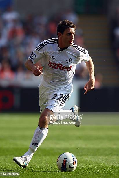 Angel Rangel of Swansea in action during the Barclays Premier League match between Swansea City and Everton at the Liberty Stadium on March 24 2012...