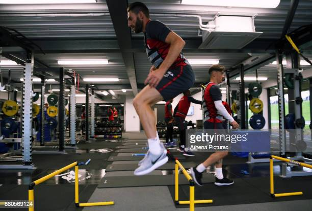 Angel Rangel works out in the gym during the Swansea City Training at The Fairwood Training Ground on October 11 2017 in Swansea Wales
