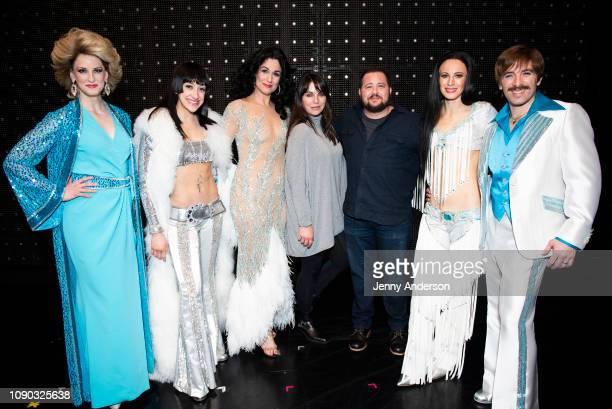 Angel Reda Micaela Diamond Stephanie J Block Shara Blue Chaz Bono Teal Wicks and Jarrod Spectro backstage at The Cher Show on Broadway at the Neil...