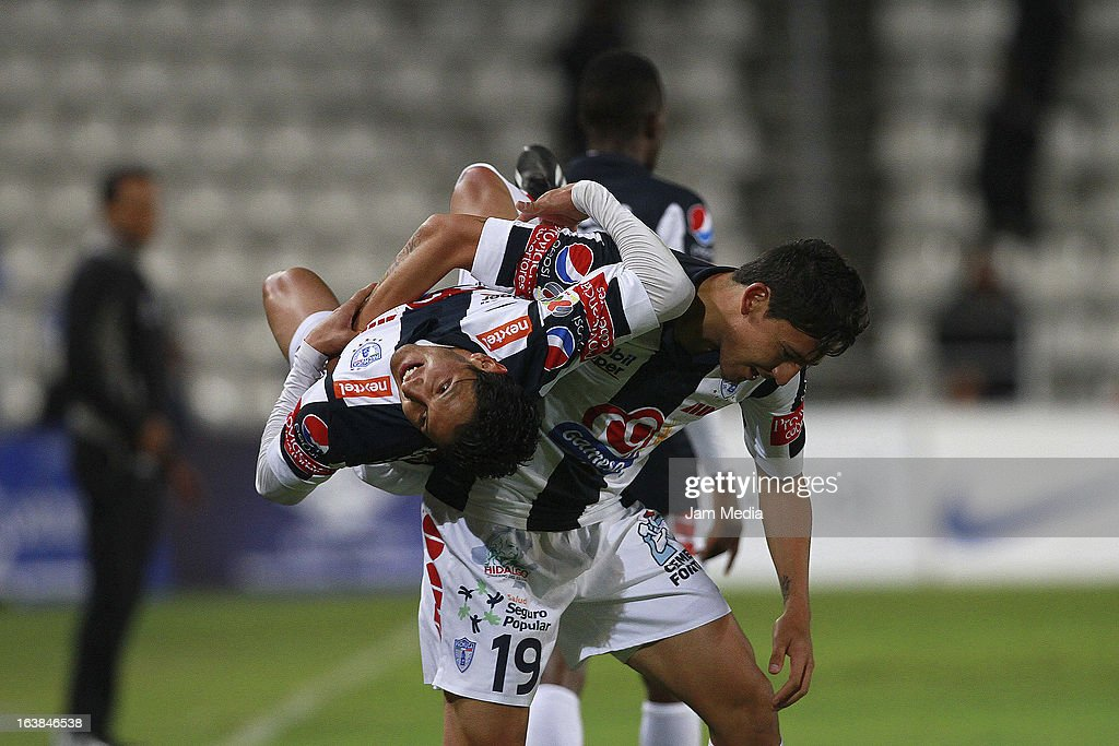 Angel Reyna of Pachuca celebrates a scored goal during a match Clausura 2013 Liga MX at Hidalgo Stadium on march 16, 2012 in Pachuca, Mexico.