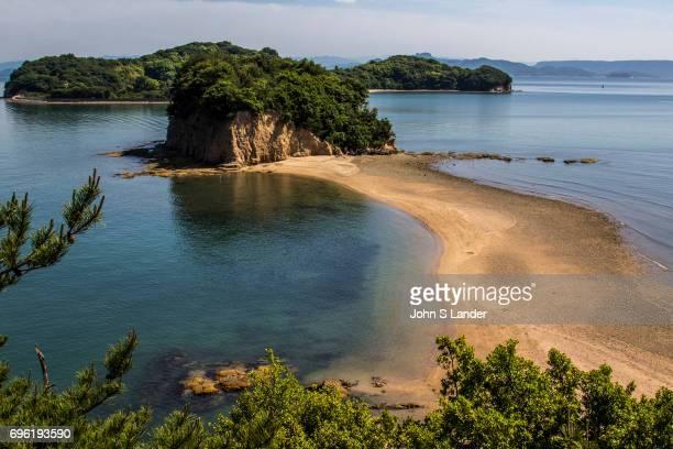NAIKAI SHODOSHIMA KAGAWA JAPAN Angel Road is in reality a sandbar that connects three tiny islands with Shodoshima During low tide visitors can walk...