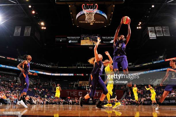 Angel Robinson of the Phoenix Mercury grabs the rebound against the Seattle Storm on July 31 2018 at Talking Stick Resort Arena in Phoenix Arizona...