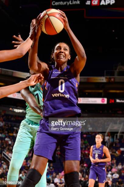 Angel Robinson of the Phoenix Mercury handles the ball against the New York Liberty on August 19 2018 at Talking Stick Resort Arena in Phoenix...