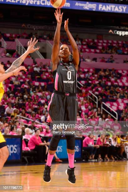 Angel Robinson of the Phoenix Mercury shoots the ball against the Indiana Fever on August 10 2018 at Talking Stick Resort Arena in Phoenix Arizona...