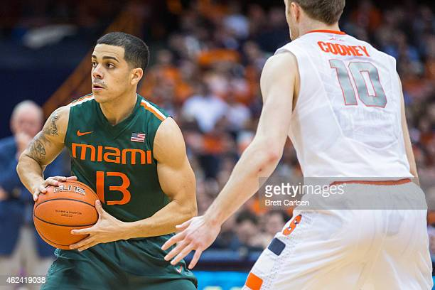 Angel Rodriguez of the Miami Hurricanes sets the play as Trevor Cooney of the Syracuse Orange defends during the second half on January 24 2015 at...