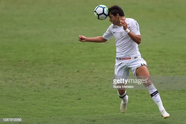 Angel Romero of Corinthians controls the ball during a match between Botafogo and Corinthians as part of Brasileirao Series A 2018 at Nilton Santos...