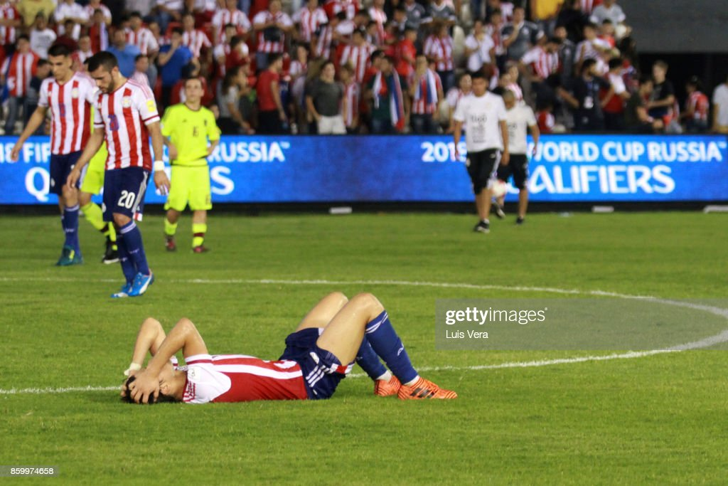 Angel Romero of Paraguay reacts after losing a match between Paraguay and Venezuela as part of FIFA 2018 World Cup Qualifiers at Defensores del Chaco Stadium on October 10, 2017 in Asuncion, Paraguay.