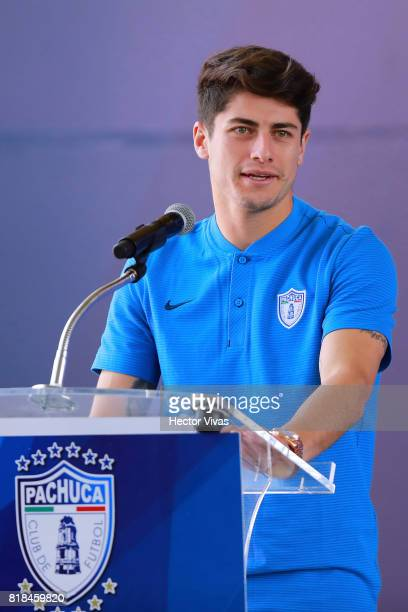 Angel Sagal of Pachuca speaks during a press conference to unveil Pachuca's new signings at Universidad del Futbol y Ciencias del Deporte on July 18...
