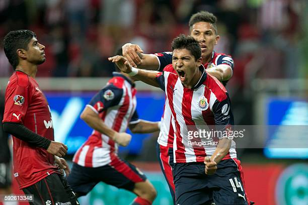 Angel Saldivar of Chivas celebrates after scoring his team's second goal during the 6th round match between Chivas and Atlas as part of the Torneo...