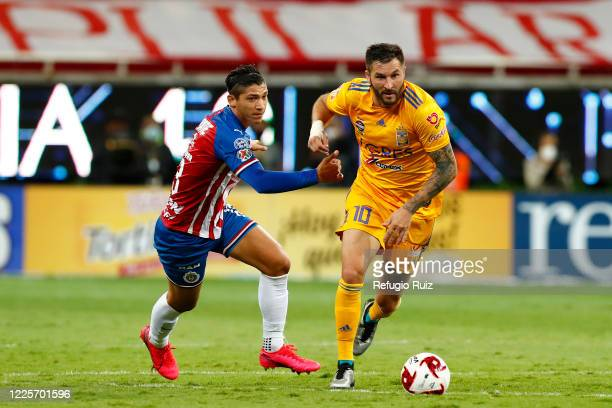 Angel Saldívar of Chivas fights for the ball with Andrepierre Gignac of Tigres during the match between Chivas and Tigres UANL as part of the...