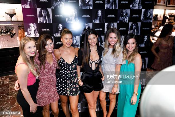 Angel Sara Sampaio poses for photos with guests as Victoria's Secret debuts new fall collection on August 08 2019 in Chicago Illinois