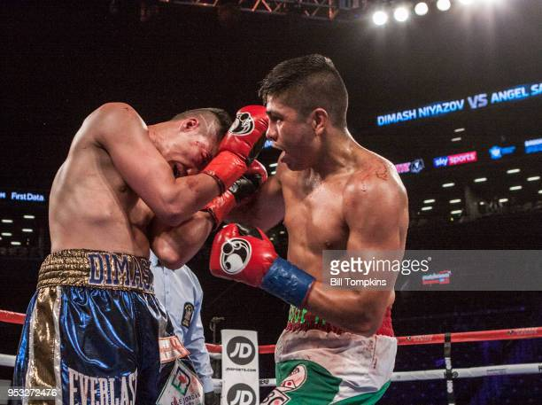 Angel Sarinara defeats Dimash Niyazov by Unanimous Decsion in their Lightweight fight at the Barclays Center on April 28 2018 in the Brooklyn borough...
