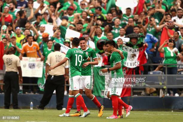 Angel Sepulveda Edson Alvarez and Elias Hernandez of Mexico celebrate a goal against El Salvador during the first half of a 2017 CONCACAF Gold Cup...