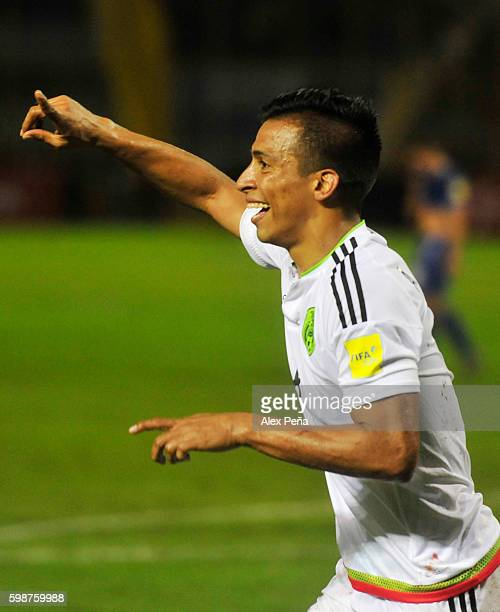 Angel Sepulveda of Mexico celebrates after scoring the second goal of his team during a match between El Salvador and Mexico as part of FIFA 2018...