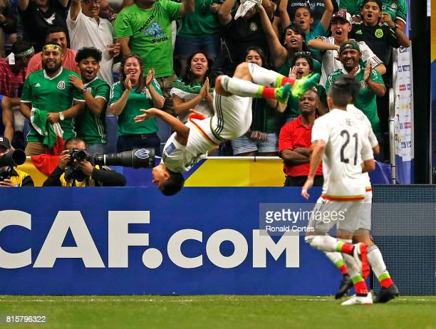 Angel Sepulveda of Mexico does a flip after scoring against Curaco in the first half during the 2017 CONCACAF Gold Cup at Alamodome on July 16 2017...