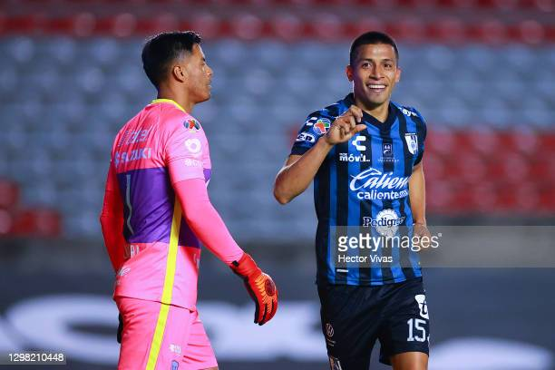 Angel Sepulveda of Queretaro celebrates after scoring the second goal of his team during the 3rd round match between Queretaro and Pumas UNAM as part...