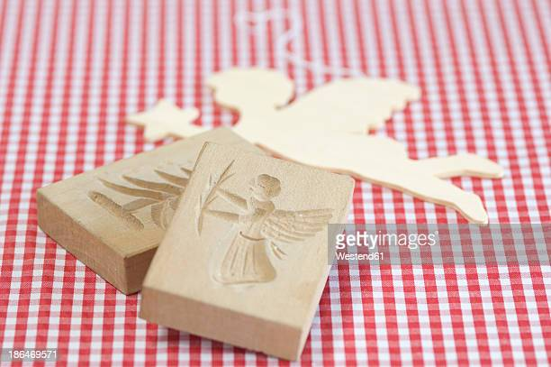 Angel shape wooden baking molds for christmas