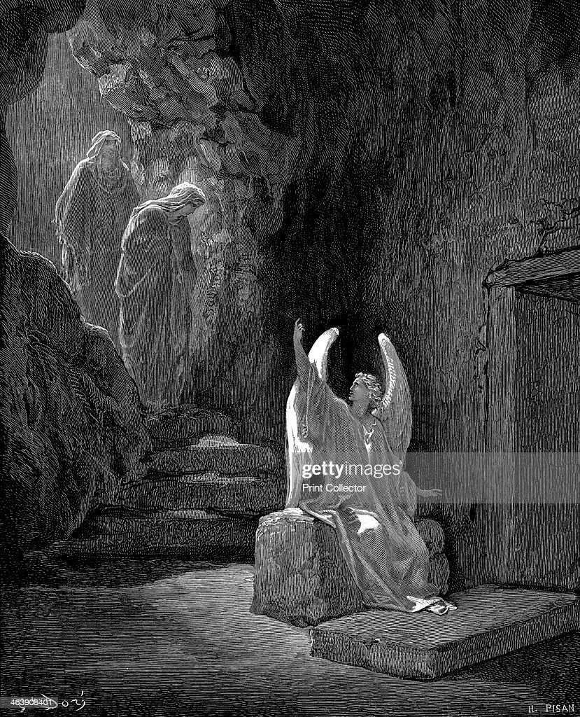 Angel showing Mary Magdalene and 'the other Mary' Christ's empty tomb, 1865-1866. Artist: Gustave Doré : News Photo