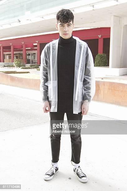 Angel Soto wears Converse shoes Zara pants Zara Jersey and Jani Richeli Jacket during Mercedes Benz Fashion Week at Ifema on February 19 2016 in...