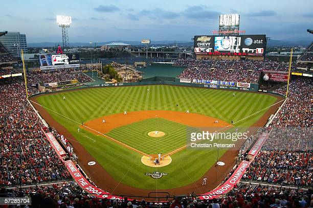 Angel Stadium is shown during action between the Los Angeles Angels of Anaheim and the New York Yankees during the Angels home opener April 7, 2006...