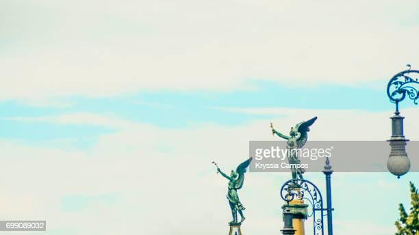 Angel Statues at Svatopluk Cech Bridge over the Vltava River in Prague, Czech Republic