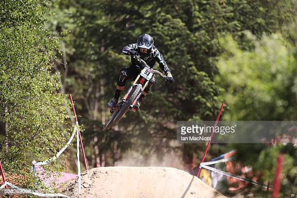 Angel Suarez Alonso of Spain competes in the Men's Downhill at the UCI Mountain Bike World Cup on June 5 2016 in Fort William Scotland