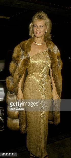 Angel Tompkins attends Eddie Awards on March 15 1986 at the Beverly Hilton Hotel in Beverly Hills California