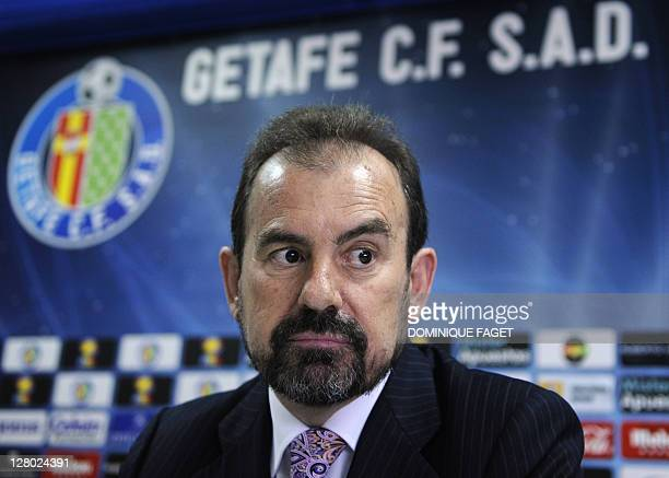 Angel Torres, President of the Spanish football club Getafe, gives a press conference on April 25 in Madrid, to announce that the club was sold to...