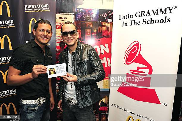 Angel Y Khriz attends the Latin GRAMMY in the Schools at Miami Coral Park Senior High School on October 9 2009 in Miami Florida