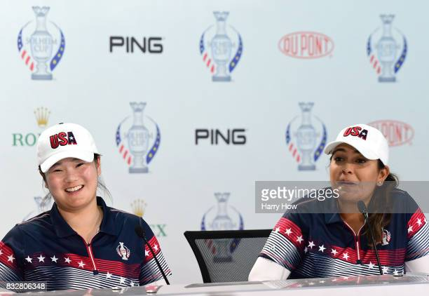 Angel Yin and Lizette Salas of Team USA smile during a press conference for the Solheim Cup at the Des Moines Golf and Country Club on August 16 2017...