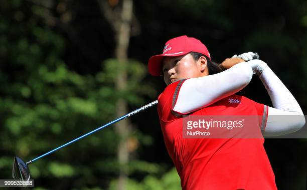 Jennifer Kupcho of the United States follows her fairway shot on the 18th hole during the final round of the Marathon LPGA Classic golf tournament at...