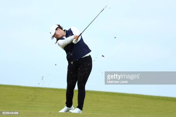 Angel Yin of the United States hits her second shot on the 4th hole during the final round of the Ricoh Women's British Open at Kingsbarns Golf Links...