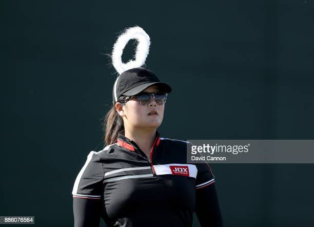 Angel Yin of the United States lives up to her name wearing 'angelic' headwear during the proam for the 2017 Dubai Ladies Classic on the Majlis...