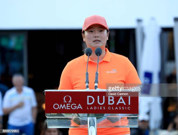 Angel Yin of the United States makes her winner's speech after her playoff victory during the final round of the 2017 Dubai Ladies Classic on the...