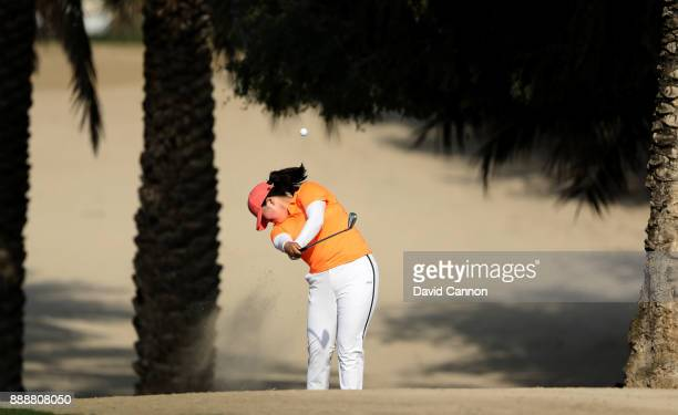 Angel Yin of the United States plays her second shot on the par 4 14th hole during the final round of the 2017 Dubai Ladies Classic on the Majlis...