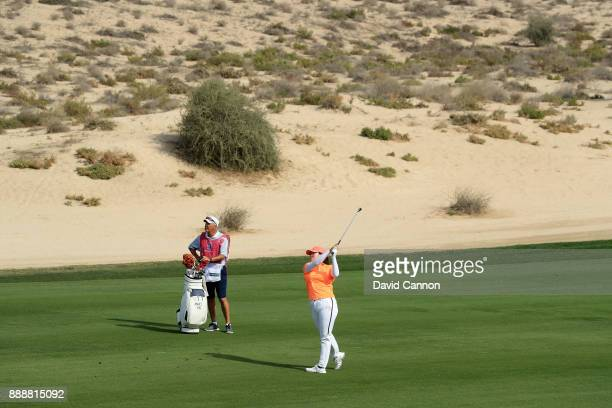 Angel Yin of the United States plays her second shot on the par 4 eighth hole during the final round of the 2017 Dubai Ladies Classic on the Majlis...