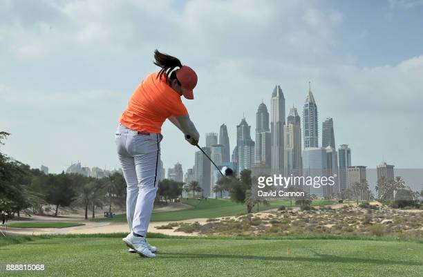 Angel Yin of the United States plays her tee shot on the par 4 eighth hole during the final round of the 2017 Dubai Ladies Classic on the Majlis...